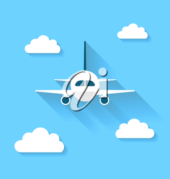 Illustration simple icons of plane and clouds with long shadows, modern flat style - vector