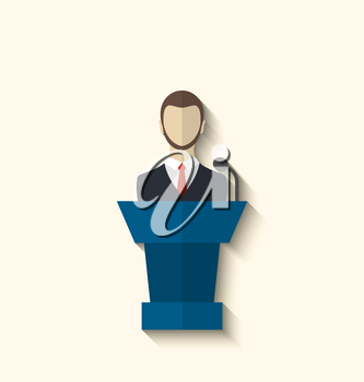 Illustration flat icon of orator speaking from rostrum, long shadow style - vector