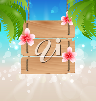 Illustration hanging wooden guidepost with exotic flowers frangipani and palmtrees - vector