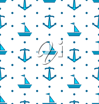 Illustration Seamless Pattern with Sail Boats and Anchors, Nautical Blue Background - Vector