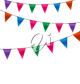 Illustration Set Colorful Buntings Flags Garlands for Holiday, Copy Space for Your Text - Vector