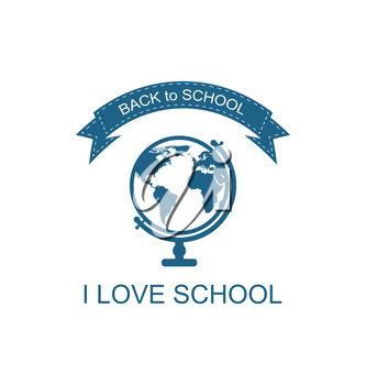 Illustration Back to School Logo with Globe Flat Icon, Isolated on White Background - Vector