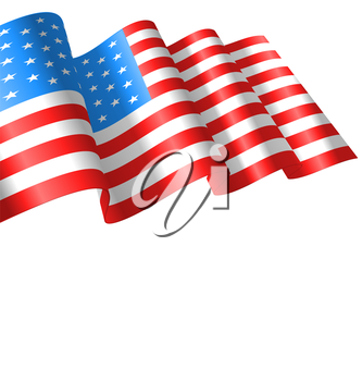 Flags USA Waving Wind and Ribbon for Independence Day 4th Patriotic Symbolic Vintage Decoration for Holiday or Celebration Backgrounds - Vector