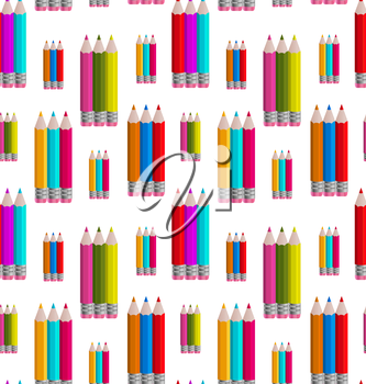 Illustration Seamless Pattern with Colorful Pencils - Vector