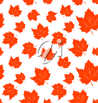 Illustration Autumnal Maple Leaves, Seamless Background - Vector