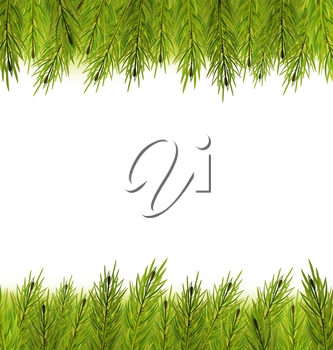 Illustration Christmas Frame Made in Fir Branches, Copy Space for Your Text - Vector