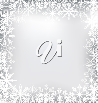 Illustration Frozen Frame Made of Snowflakes for Merry Christmas - Vector