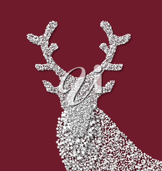 Symbol new year xmas deer red backdrop made from white hoarfrost particles - vector