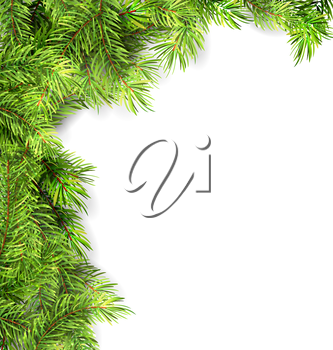 Illustration Natural Framework with Fir Twigs, Copy Space for Your Text - Vector