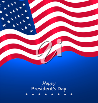 Flag USA Waving Wind for Happy Presidents Day, Patriotic Symbolic Vintage Decoration for Holiday - Vector