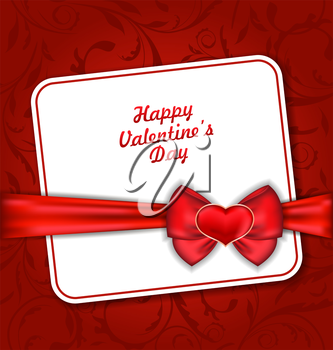 Illustration Beautiful Greeting Card for Valentines Day with Red Heart and Bow Ribbon - Vector