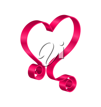 Illustration Pink Tape Ribbon in Form Heart for Happy Valentines Day. Isolated on White Background - Vector
