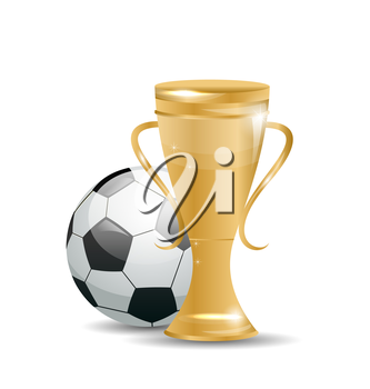 Illustration Golden Cup with Football Ball. Objects Isolated on White Background - Vector