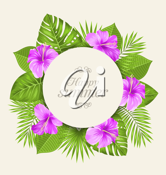 Illustration Vintage Card with Purple Hibiscus Flowers and Green Tropical Leaves. Happy Summer - Vector