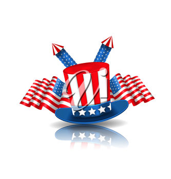 Illustration National Symbols of USA in American Colors. Objects with Reflections - Vector
