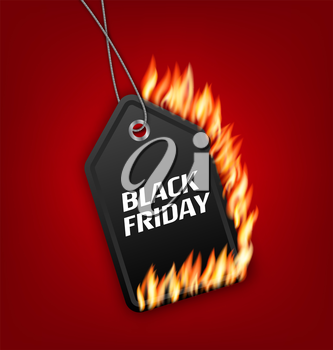 Illustration Sale Discount with Fire Flame for Black Friday. Hot Sales, Template for Discount, Label, Coupon - Vector