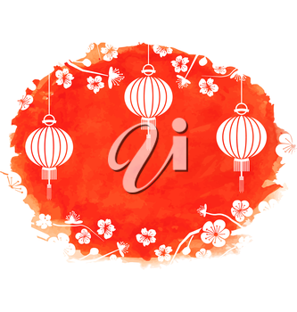 Illustration Watercolor Background with Blossom Sakura Flowers and Lanterns - Vector