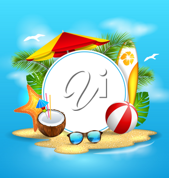 Illustration Summer Background with Sea, Island, Beach, Umbrella, Coconut Cocktail, Sunglasses - Vector