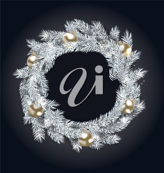 Christmas Wreath with Golden Balls, New Year and Christmas Decoration, on Dark Background - Illustration Vector