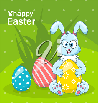 Easter Bunny Egg Hunt, Cartoon Rabbit, Greeting Banner - Illustration Vector