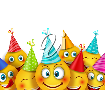 Party Background with Set Smile Emoji Characters. Emotion, Emoticon - Illustration Vector