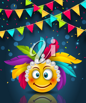 Happy Carnival Festive Banner, Smile Emoji with Headdress - Illustration Vector