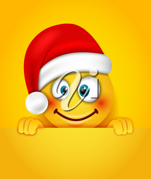 Christmas Happy Cheerful Emoticon in Santa Hat - Illustration Vector