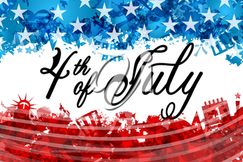 Fourth of July Independence Day USA, Lettering Celebration Poster - Illustration Vector