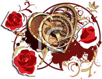 Royalty Free Clipart Image of a Mechanical Heart and Roses