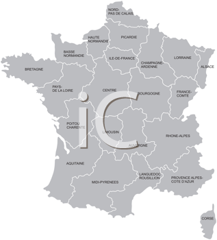 Royalty Free Clipart Image of a Map of France