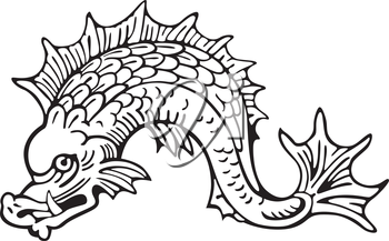 Vectorial pictogram of most heraldic sea monster - dolphin, executed in style of gravure on wood. No dlends, gradients and strokes.