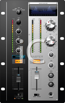 Royalty Free Clipart Image of a Set of Controls to Recording Studio Equipment