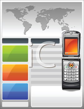 Royalty Free Clipart Image of a Brochure of a Flyer With a Telephone Theme