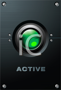 Royalty Free Clipart Image of a Green Button on the Brushed Metal