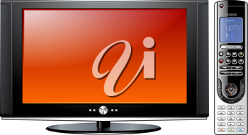 Royalty Free Clipart Image of a Television and Remote