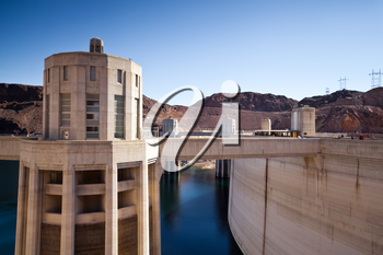 Royalty Free Photo of the Hoover Dam Towers on the Colorado River