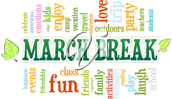 March Spring School Break Word Cloud Bubble Tag Tree Vector