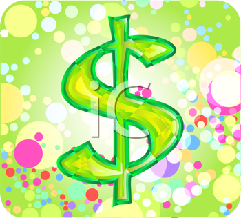 Royalty Free Clipart Image of a Dollar Sign on a Circle Background