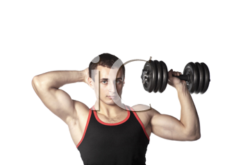 handsome guy in black-and-red undershirt holding dumbbell (low saturation toning)
