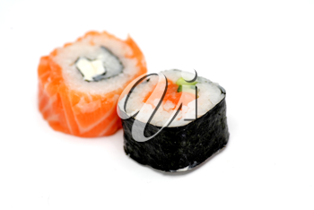 two delicious sushi isolated on white
