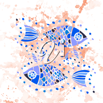 Zodiac sign of pisces (fishes) watercolor