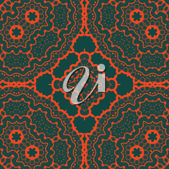 Seamles tribal Tibet like art pattern. Red symmetry lines over green background.