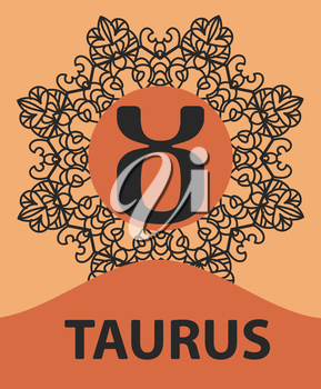 Taurus Bull zodiac astrology icon for horoscope vector illustration on ornamental round lace pattern. Abstract vector tribal ethnic yoga yantra background.