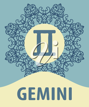 Zodiac sign Gemini. Abstract zodiac sign for talismans, textile prints, tattoo vector illustration on ornamental round lace pattern. Abstract vector tribal ethnic western zodiac star sign on ornate ma