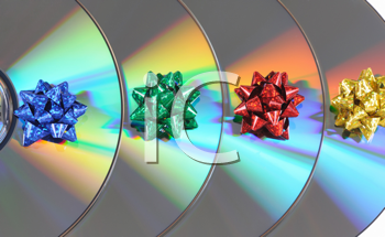 Royalty Free Photo of Bows on Compact Discs
