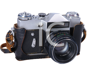 old camera isolated on white background (clipping path included)