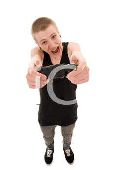 funny skinny teenager with a joystick isolated on white background