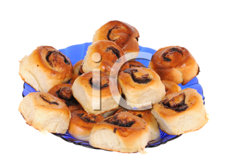 Sweet roll on blue plate isolated on white background