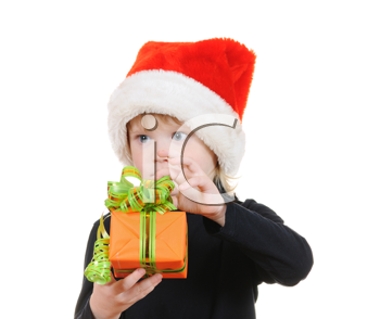 Royalty Free Photo of a Boy Holding a Present