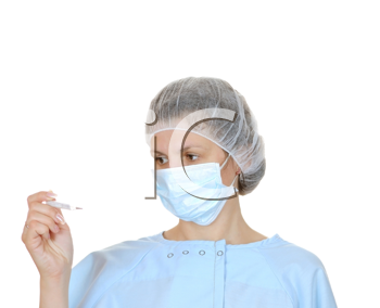 Royalty Free Photo of a Woman Wearing a Medical Mask